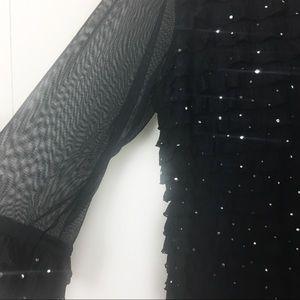 Cato Tops - 3/$15 Cato Black w/Silver Sequins Glitter Blouse